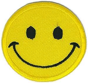 Parche de círculos de sonrisa amarillo, para coser o