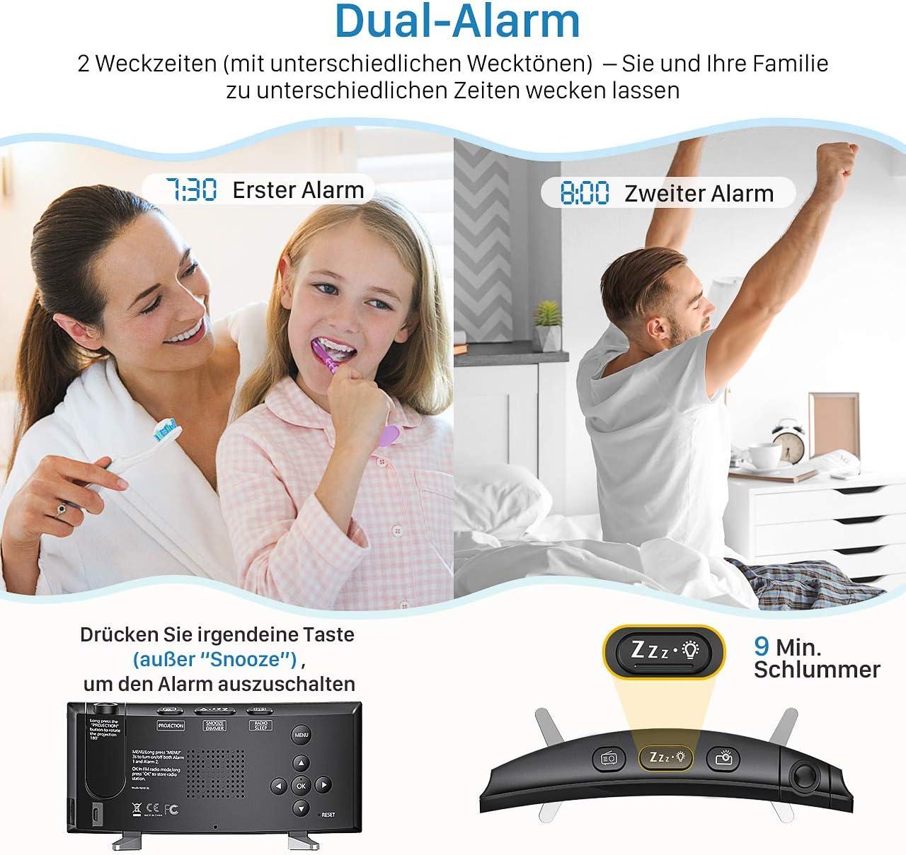 Pictek - Radio despertador digital con proyección de 180°, radio ...