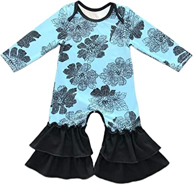 Newborn Baby Girls Icing Ruffle Romper Jumpsuit Pajama Long Sleeve Floral Outfit
