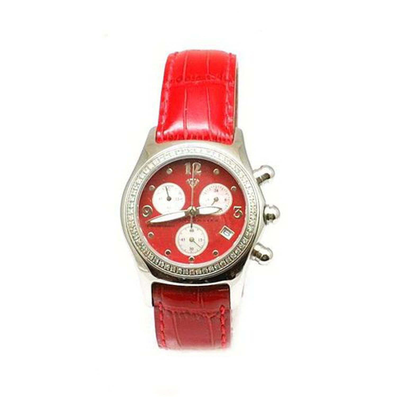 AQUA MASTER - Rote Chrono - Damenuhr mit 0.75 Karat Diamant mit Rotem Lederarmband
