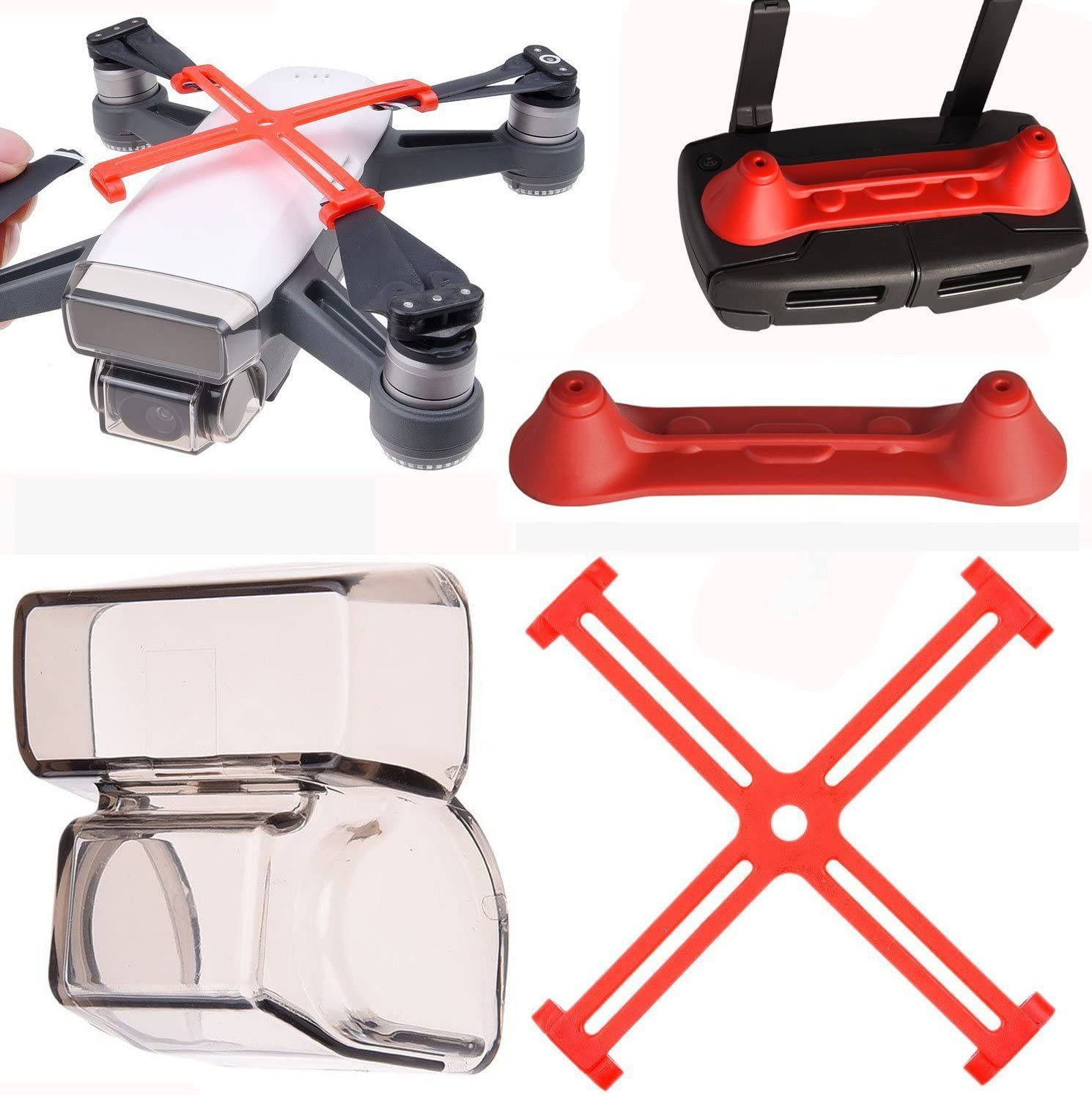 PENVIO Spark Accessories Protector 3 Pack Set,Controller Transmitter Joystick Propellers Clip for DJI Spark Drone Protector Camera Gimbal Lens Cover