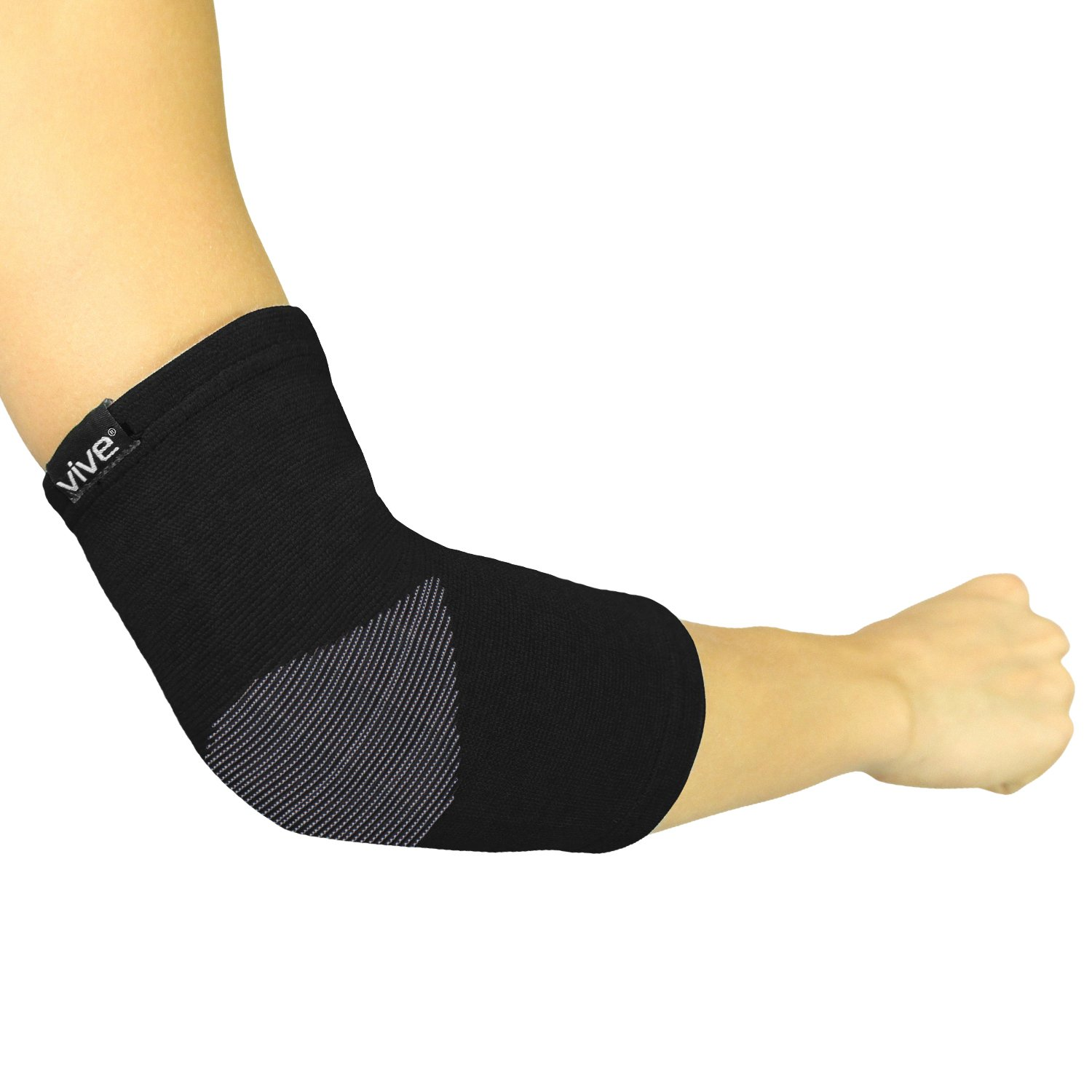 Elbow Sleeve by Vive (Pair) - Bamboo Charcoal Compression Elbow Support for Tendonitis, Golfers and Tennis Elbow - Men and Women (Black, Large/X-Large)