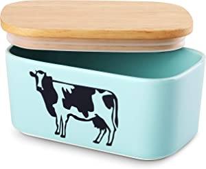 DOWAN Butter Dish with Lid - Cow Butter Dish Butter Container for Refrigerator, Farmhouse Style Porcelain Butter Dishes with Covers, Sealable, Large, Blue