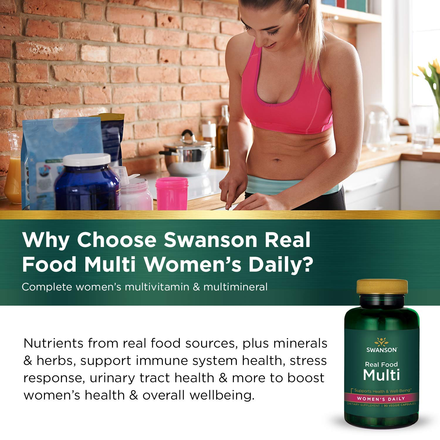 Amazon.com: Real Food Multi Womens Multivitamin Multimineral Womens Health Urinary Tract Stress Response Bone Hair Skin Nails Support Supplement Vegan ...