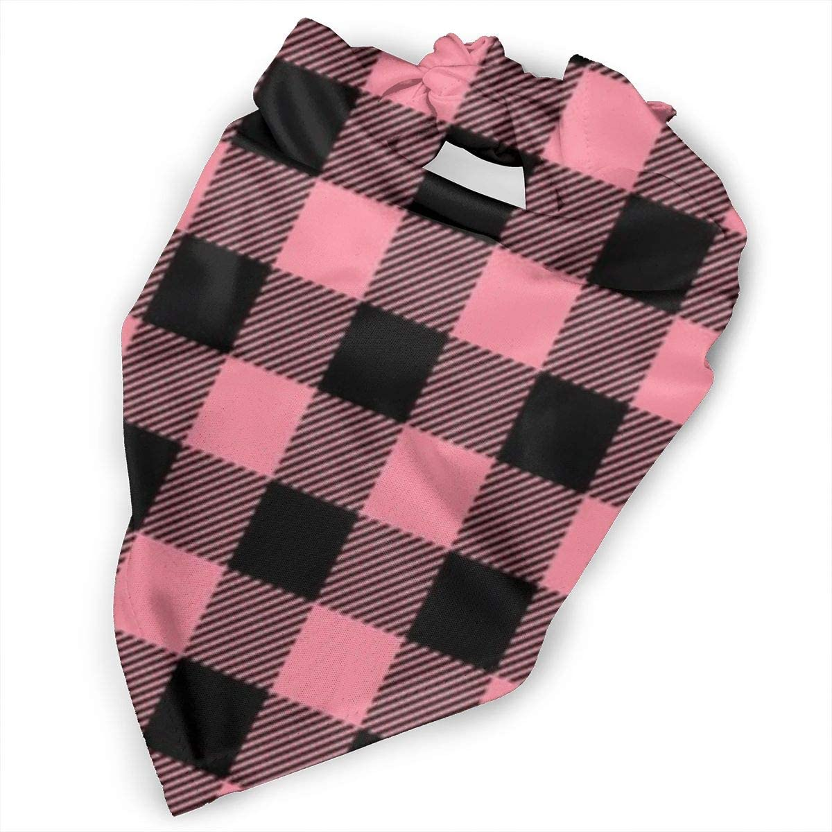Reversible Plaid Bibs Scarf Washable and Adjustable Kerchief Pet Scarf for Dogs Cats Pets Daily Use Buffalo Plaid in Pretty Pink Triangle Dog Bandana