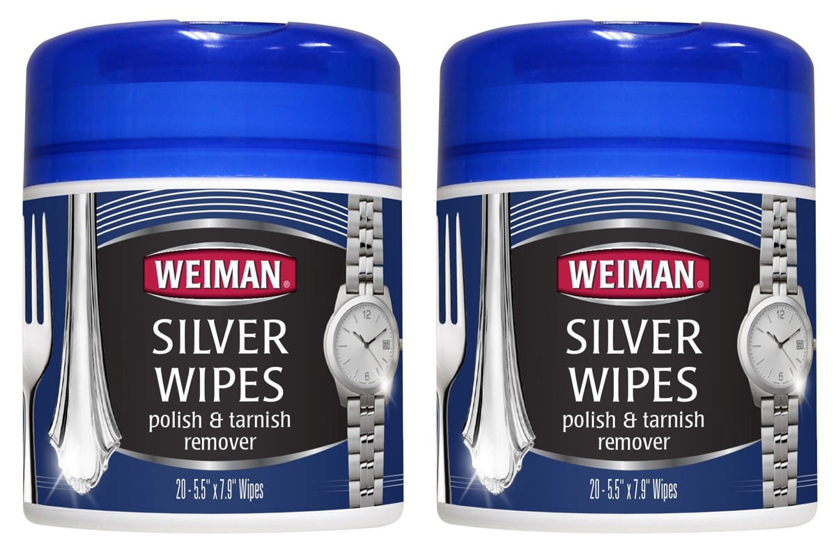 Weiman Silver Wipes for Cleaning and Polishing Silver Jewelry, 20 Count, 2 Pack
