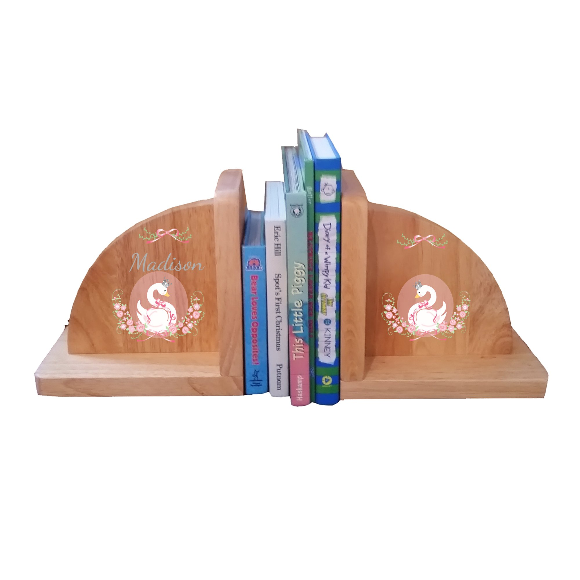 Personalized Swan Natural Childrens Wooden Bookends