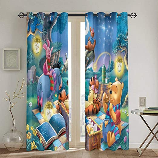 Winnie The Pooh 3D Curtain Blockout Photo Printing Curtains Drape Fabric