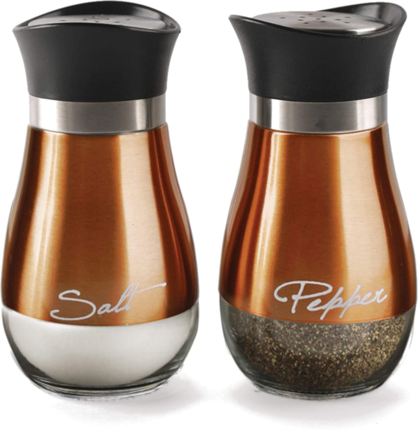 Circleware 68252 Cafe Contempo Elegant Glass Salt and Pepper Shakers Dispenser, Clear Bottom Jar Bottle Container with Stainless Steel Top, Perfect for Himalayan Seasoning Herbs Spices, 4.4 oz, Copper