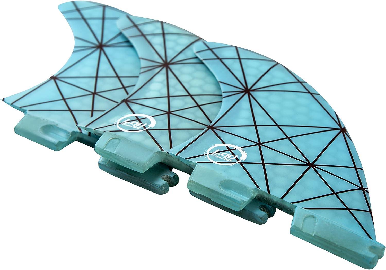 Liquida FCS2  Thruster Finnen Set Medium, Glasfaser Honeycomb, blau