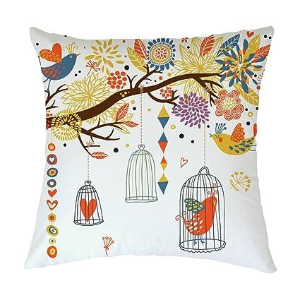 Pillow Covers Rosy Nubes Pájaros y Jaula de pájaro en árbol ...