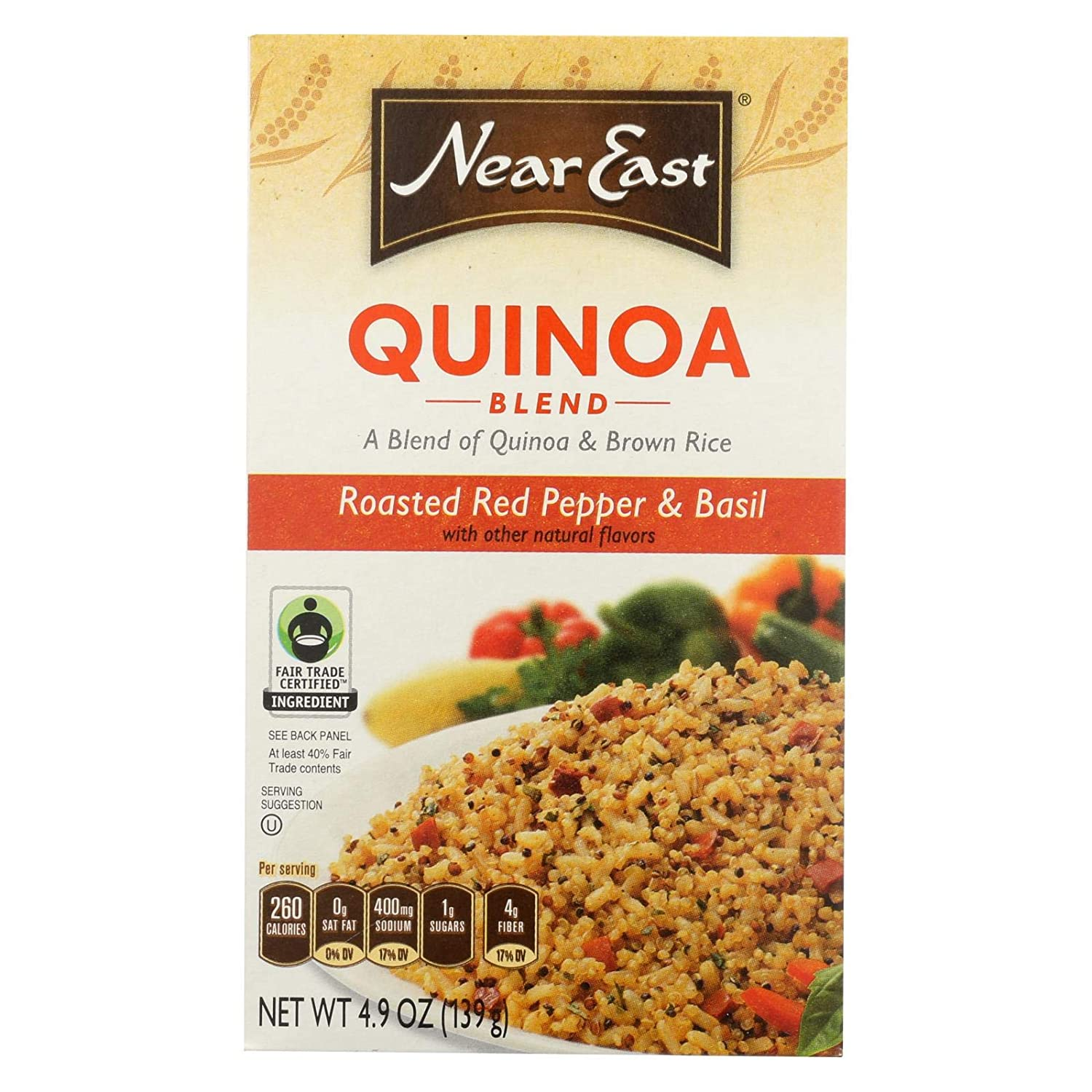 Near East Food Products Roasted Red Pepper and Basil Quinoa, 4.9 Ounce - 12 per case.