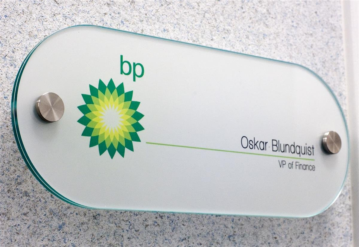 Office Door and Wall Sign System, 10x4 Oval, Green Edge Acrylic, Stainless Steel Standoffs