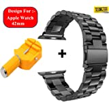 Taslar 3 Beds Top Quality Stainless Steel Replacement Metal Band Strap Bracelet For Apple Watch Series 1, 2 & 3 - 42MM - Black