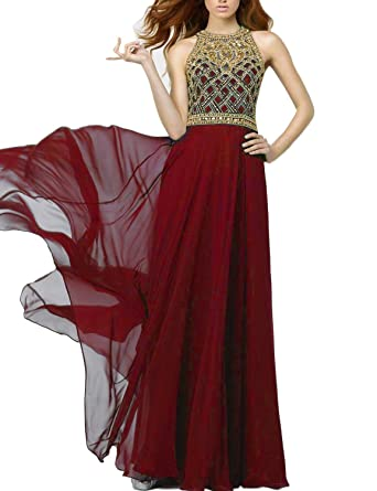 SeasonMall Womens Prom Dresses A Line Scoop Chiffon&Tulle Sweep Train With Rhinestone 2016 Size 0 Burgundy