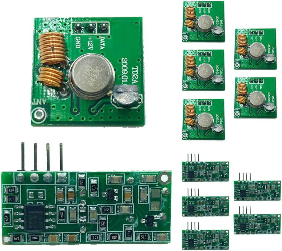 Transmitter and Receiver kit Wireless 433Mhz RF Module Receiver and Transmitter Remote Control Built-in Learning Code 1527 Decoding 4 Channel Output 6 Sets T02//R03