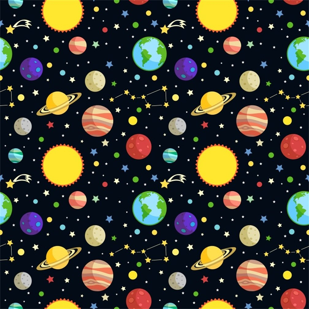 CSFOTO 6x6ft Background for Cartoon Planet Space Photography Backdrop Universe Beautiful Starry Sun Earth Solar System Big Dipper Mystery Astronomy Child Kids Photo Studio Props Vinyl Wallpaper