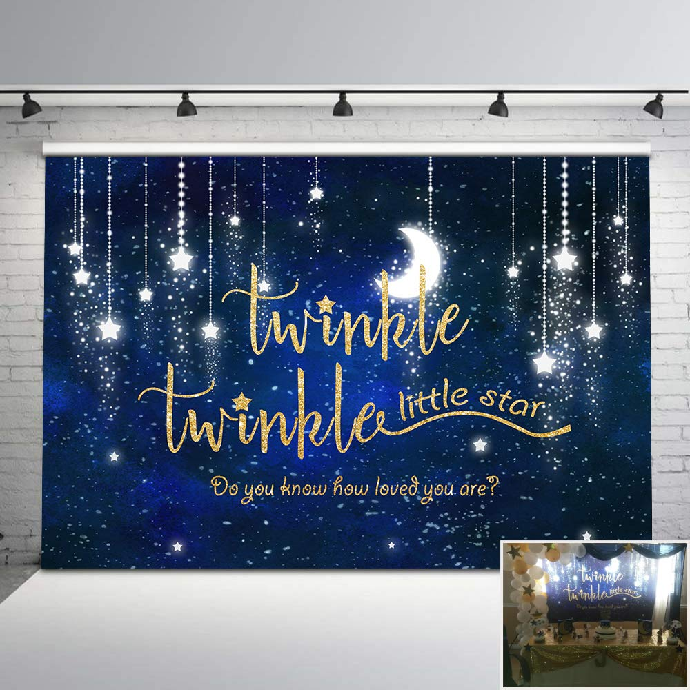 Mehofoto Twinkle Twinkle Little Star Backdrop Shinning Star and Moon Galaxy Space Photography Background 7x5ft Glitter Little Star Birthday Baby Shower Backdrop Party Studio Props by Mehofoto