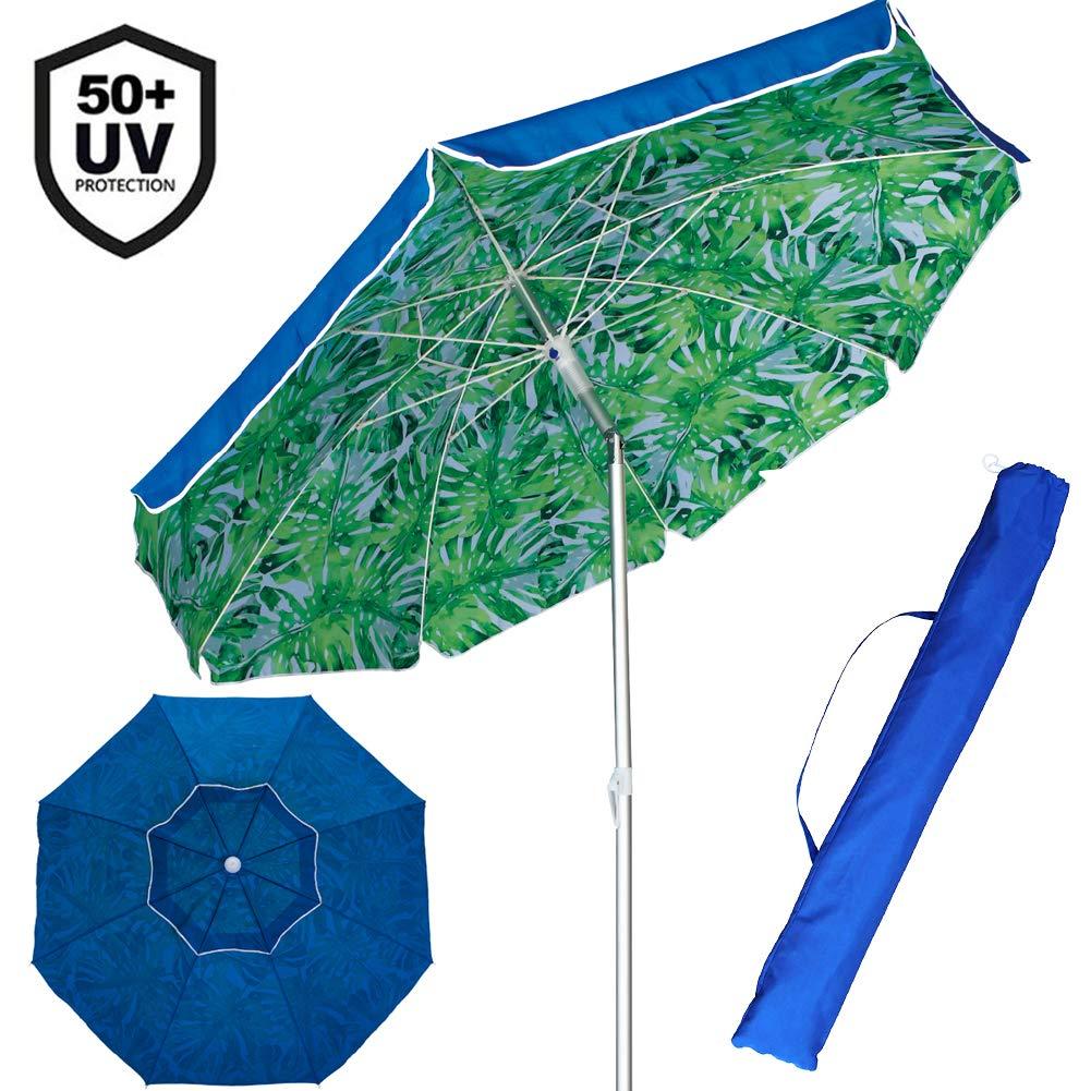 BAKAJI Ombrellone da Mare Spiaggia Giardino con Palo in Alluminio Reclinabile Rivestimento in Tessuto Anti UV Diametro 200 cm con Tracolla Custodia Colore Blu con Pattern Foglie