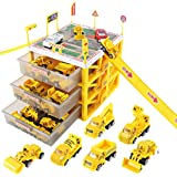 sunwuking Car Garage Fire Engine Toy Car Storage Parking Lot with Slides for Vehicles Firefighter Role Play Toys