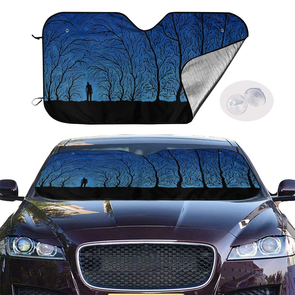 Windshield Sunshade for Car Foldable UV Ray Reflector Auto Front Window Sun Shade Visor Shield Cover, Keeps Vehicle Cool, Creepy Forest by Sha-de