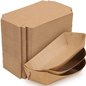 HOZEON 300 PCS 6 x3.6 inches Disposable Brown Paper Food Trays, Grease Resistant Paperboard Food Tray, Thickened Paper Food Boats for Parties Picnic Carnival Tacos Fries Hot Dog Corn