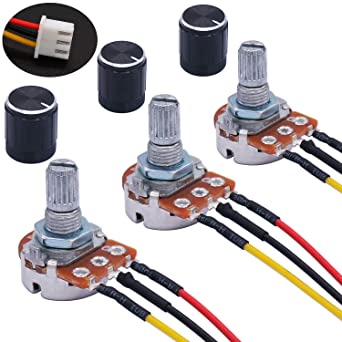 TWTADE 3PCS 1K Ohm Linear Taper Rotary Potentiometer WH148 B1K 3 Pin with  XH2.54-3P Connector Wire Cable + Black Knob Cover Cap 148-1kBK: Amazon.com:  Industrial & ScientificAmazon.com