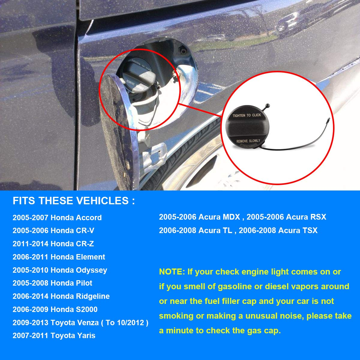 Gas Caps CR-V Fuel Tank Cap Assembly Replaces# 17670-SHJ-A31 Fits ...