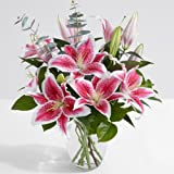 ProFlowers - 10 Count Pink Fragrant Stargazer Lilies with Glass Ginger Vase w/Free Clear Vase - Flowers