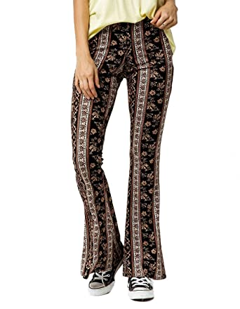 0eb69048b0889 SKY AND SPARROW Floral Linear Flare Pants, Black Combo, X-Small