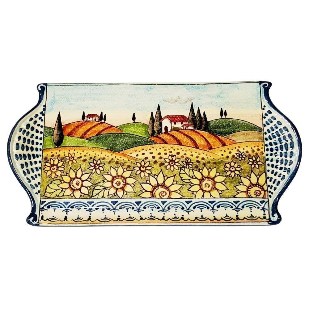 CERAMICHE D'ARTE PARRINI - Italian Ceramic Art Cheese Tray Plate Appetizer Centerpieces Decorative Sunflower Landscape Tuscan Pottery Hand Painted Made in ITALY