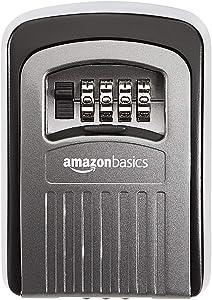 AmazonBasics 4-Digit Key Storage Lock Box, Black/Grey, 1-Pack