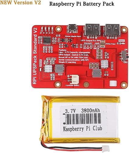 Paquete de bater/ía de litio de salida para Raspberry Pi 3 con bater/ía de litio de 3800 mAH para pantalla LCD Raspberry Pi 3.5 bater/ía Raspberry Pi placa de expansi/ón de alimentaci/ón USB dual