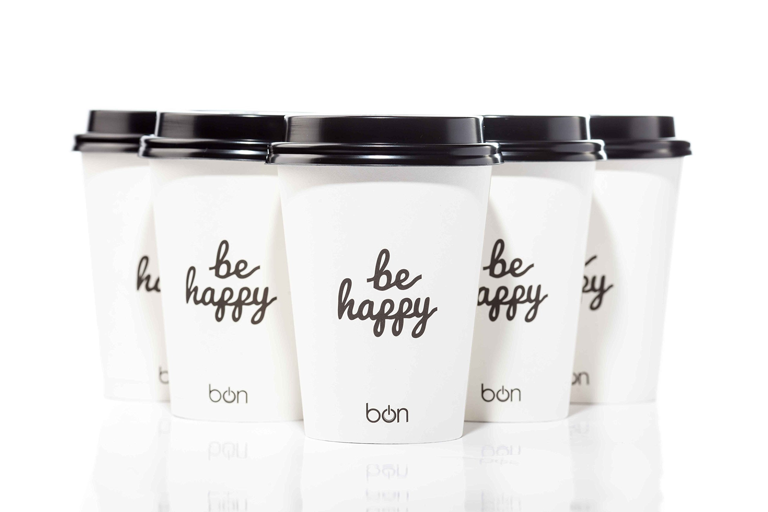 Coffee Cups With Lids To Go - 12 Oz | 100 Pack PREMIUM Disposable Paper Coffee Cups - Familly | Office | Party Pack - Hot Coffee Tea Chocolate & Cappuccino