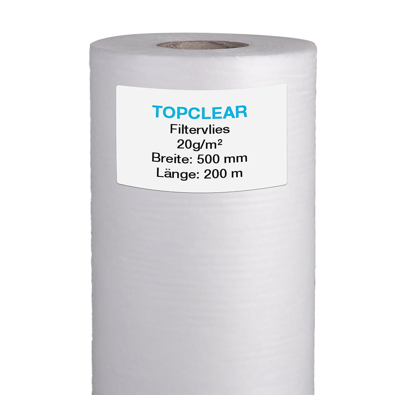 Filtervlies f/ür Vliesfilter f/ür alle Koi Teich Vlies-Filter geeignet Vliesrolle 200m x 50cm 20g//m/² hydrophiles wasserdurchl/ässiges Fleece 500mm Topclear Filtervlies in Profiqualit/ät