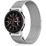 Fintie Galaxy Watch (46mm) / Gear S3 Frontier Classic [Large], 22mm Quick Release Stainless Steel Metal Replacement Bracelet Strap Wrist Bands with [Unique Magnet Lock] for Men Women (Silver)