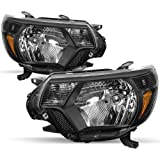 Headlights Assembly Compatible With 2012-2015 Toyota Tacoma,Passenger And Driver Side Chrome/ Black Side Front Light With Amb