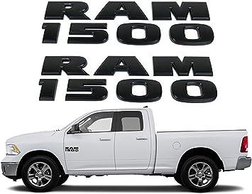 Black RAM 1500 Emblem Badge 3D Stickers Decals Nameplates Flat Letter Matte OEM for Dodge RAM 1500 2pc Set