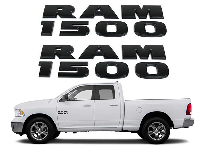 Amazon com black ram 1500 emblem badge 3d stickers decals nameplates flat letter matte oem for dodge ram 1500 2pc set automotive