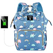 Cute Backpack Diaper Bags, HALOViE Mommy Backpack Multi-Function Large Capacity Insulation Waterproof Travel Back Pack Baby Nappy Bags Organizer with USB Charging Port Elephant