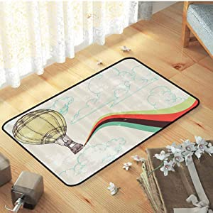 "Vintage Decor Conference Room Carpet Retro Hot Air Balloon in Rainbow Destination Adventure Follow Your Dreams Icon Pop Boho Print Decor Rug Safety and Environmental Protection, W31""x L47"" Multi"