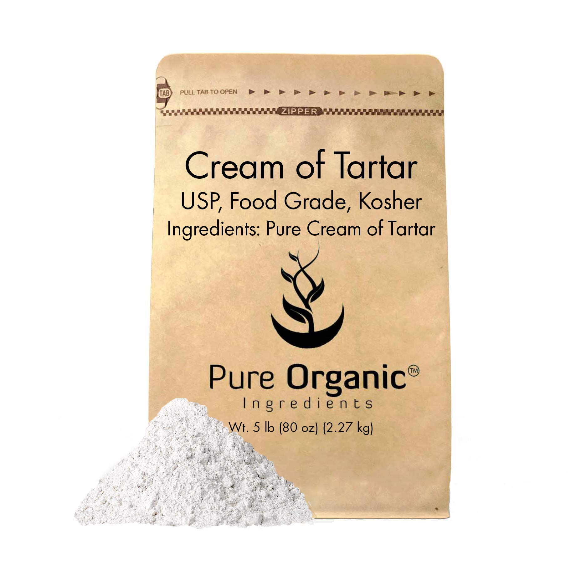 Cream of Tartar (5 lb.) by Pure Organic Ingredients, Highest Purity, Baking Additive, Non-GMO, Kosher, Gluten-Free, All-Natural, DIY Bath Bombs, Mess Free