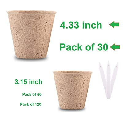 "30Pcs 4.33"" Plant Pots - Plantable Pots for Seedlings & Seed Starter Nursery Pots - Organic Biodegradable Pots - Eco Friendly - Bonus 10 Plant Tags - Bulk 30 Pack - 4.33 Inch (30 x 4.33in): Garden & Outdoor"