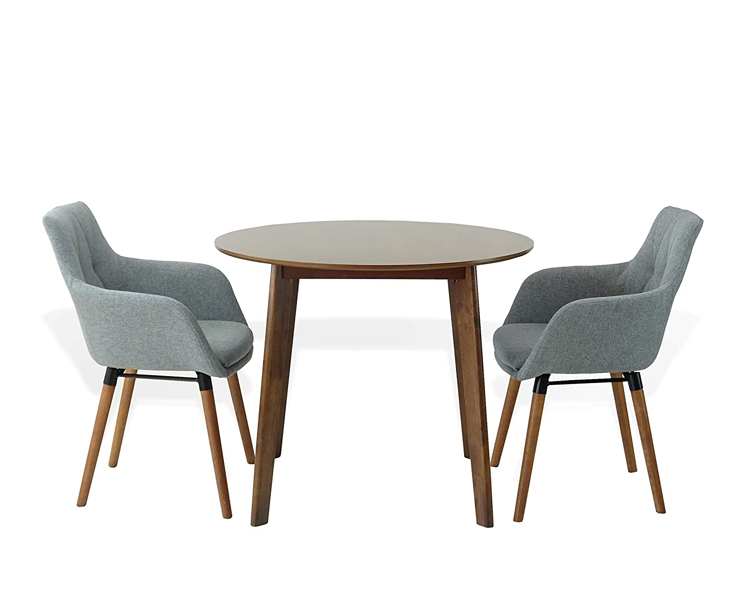 Amazon com sk new interiors dining kitchen set of 3 round wooden medium brown table with 2 alba armchairs gray color table chair sets