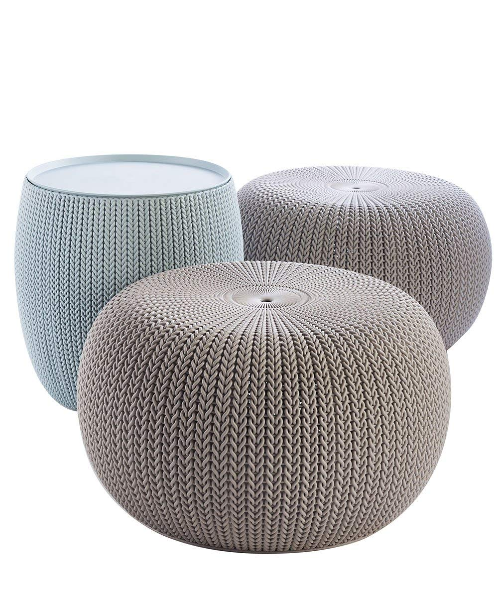 Keter 228474 Urban Knit Pouf Set, Misty Blue/Taupe (Renewed) by Keter