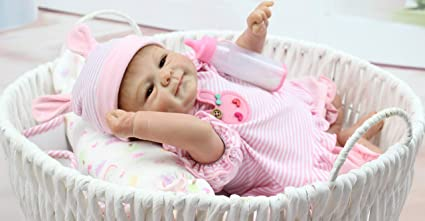 0531e0533115 Image Unavailable. Image not available for. Color  Pinky Simulation  18 quot  45cm Lovely Lifelike Realistic Looking Soft Vinyl Silicone Reborn  Doll Baby ...