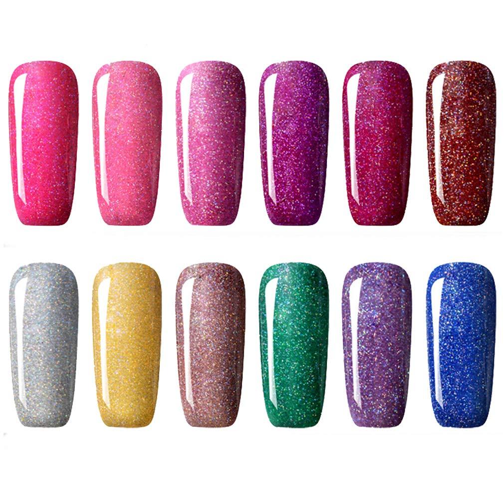 CLAVUZ Gel Nail Polish Kit Soak Off UV LED 12pcs Neon Bling Nail Varnish Fashion Shimmer Nail Art Manicure Pedicure Decor Gift Set