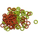 (100 Pack) Soft Stitch Ring Markers, Orange & Yellow (Small size for needle sizes 0-8, for knitting/crochet/etc)
