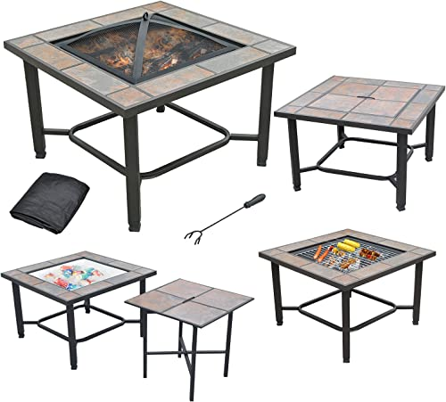 AXXONN 5 in 1, 30 Square Tile Top Fire Pit, Grill, Cooler, Coffee Table and Side Table with Cover