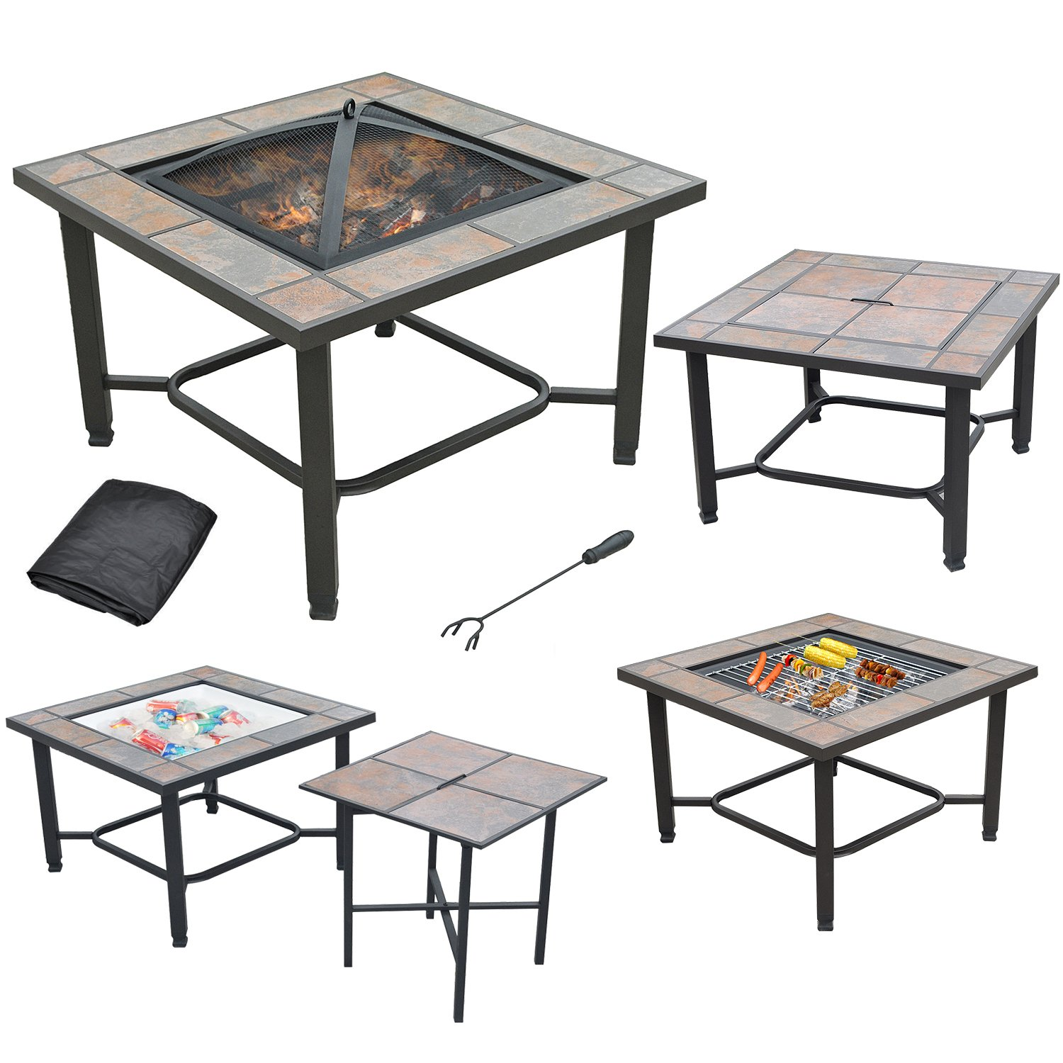 AXXONN 5 in 1, 30'' Square Tile Top Fire Pit, Grill, Cooler, Coffee Table and Side Table with Cover by AXXONN